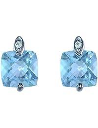 Boucles d'oreille - Pendientes de mujer de oro blanco (9k) con topacios y diamantes