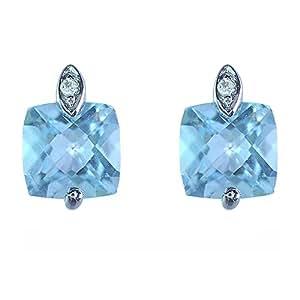 Ivy Gems 9ct White Gold Sky Blue Topaz And Diamond Cushion Cut Stud Earrings