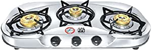 JSM GALAXY ISI MARKED 3 BURNER STAINLESS STEEL GAS STOVE WITH JUMBO BURNER