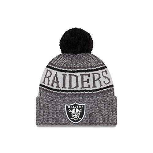 New Era Oakland Raiders Beanie NFL 2018 Sideline Sport Graphite Knit Black/Grey -...