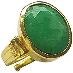 RS JEWELLERS Gemstones 7.32 Ratti Natural Certified EMERALD panna Gemstone Panchdhatu Ring ,Pukhraj Birthstone Astrology Ring