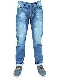 Forever Young Mens Classic Straight Leg Jeans Designer White Wash Effect Slim Regular Fit Stretch Straight Leg Jeans W32 L32