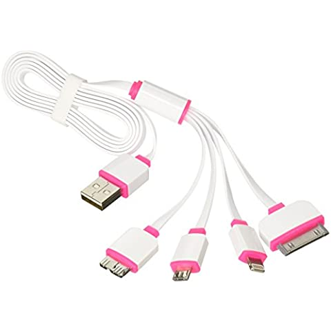 : niu-bee Multiporta USB Cavo di ricarica, cavo caricatore USB 4 in 1, più Adattatore USB Cavo di ricarica con connettore a 8 pin illuminazione/30 pin/Micro USB 2.0/Micro USB 3.0 porte per tutti gli iPhone, tutti gli iPad, iPod Touch 5TH GEN, iPod Nano 7th Gen, Samsung Galaxy S2, S3, S4, MP3, MP4, Power Bank, Caricabatterie da auto