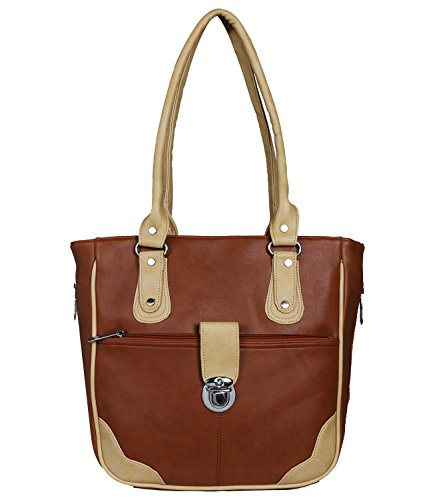 fantosy women tan and beige lock model handbag fnb-676