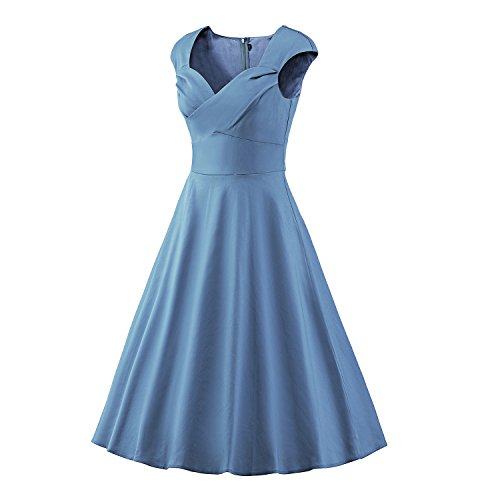 ILover Frauen 1950 Art-Weinlese Rockabilly Swing-Party-Kleid LakeBlue2