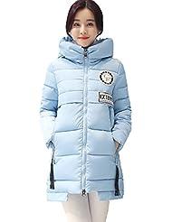 Griffin- Invierno Ocio larga sección delgada del espesamiento mantener caliente cuello con capucha de la cremallera del abrigo de pieles Mujer Ropa de algodón (seis colores, cuatro tamaños para elegir) ( Color : Azul , Tamaño : XXL )