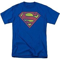 Superman Distressed Logo Royal Blue Camiseta de manga corta Tee, X-Large, Azul