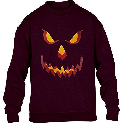Halloween Kürbis Kopf Smile Gruselig Cooles Pumpkin Motiv Kinder Pullover Sweatshirt X-Large Kastanienbraun