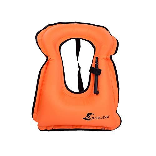 OMOUBOI Gonfiabile Portatile Gilet Galleggiante per Adulti,Floatage Vest,Nuoto, Boccaglio, Nuoto. Surf, Immersioni, Canottaggio, Kayak, Canyoning (Orange)