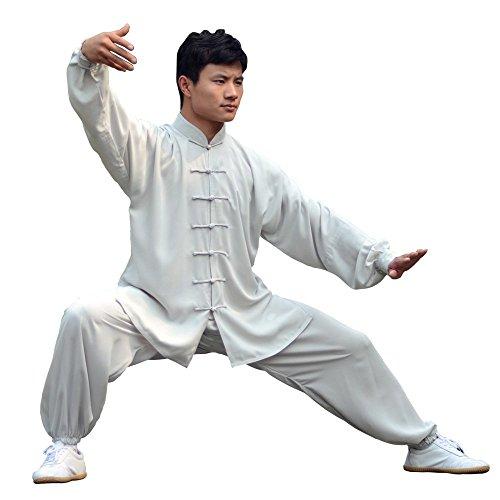 E-Bestar Unisex Kung Fu Anzug Damen und Herren Tai Chi Anzug Shaolin (Weiß-Grau, Asien XXXL)