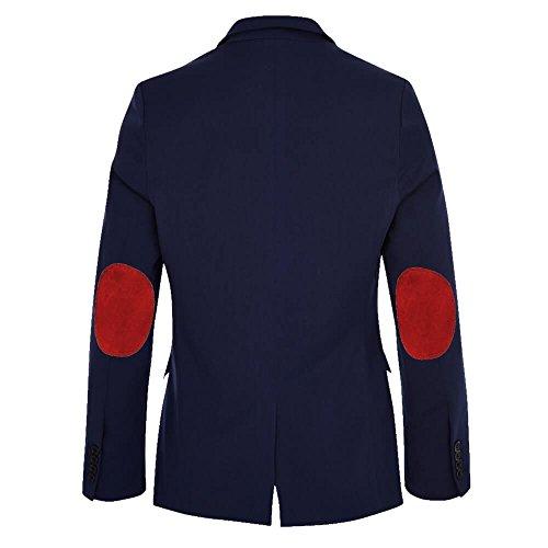 ALLBOW Herren Sakko mit Ellenbogen-Patches, Blaues Casual Sakko tailliert mit Patches Rot M 48/50