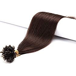 Extension Keratine Cheveux Naturel Pose a Chaud 1g - Pre Bonded U Tip Remy Human Hair Extensions 50cm - 50 Mèches - #4 MARRON CHOCOLAT