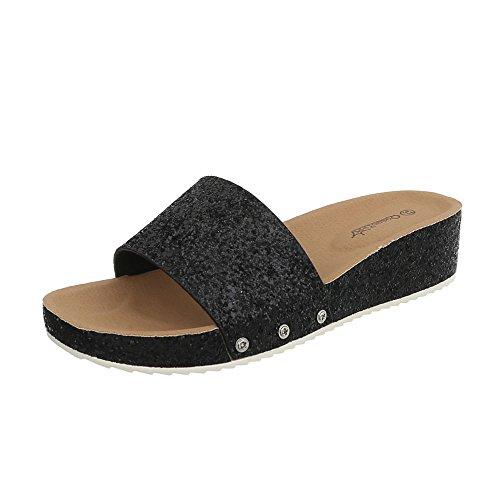 Ital-Design Pantoletten Damen-Schuhe Keilabsatz/Wedge Sandalen & Sandaletten Schwarz, Gr 39, Bl95-Sf-