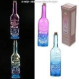Deko zwei Ton LED Licht Flasche–Set von zwei–Prosecco Slogans