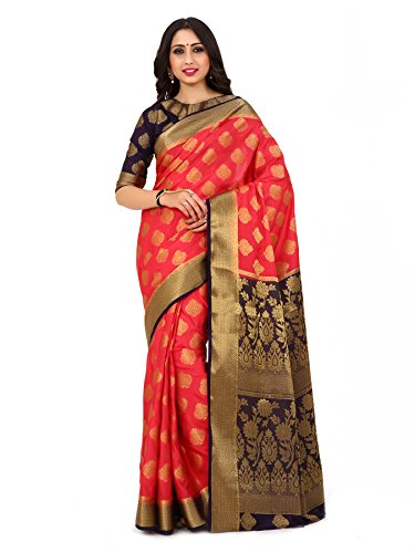 Mimosa By Kupinda Women's Art Silk Saree Kanjivaram Style Color : Strawberry (4162-237-2D-STR-NVY)