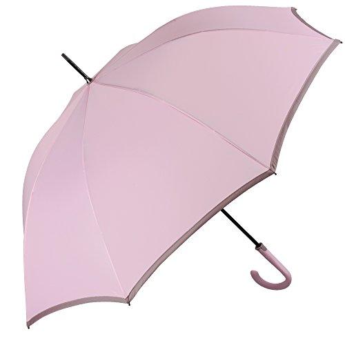 Paraguas de mujer largo con apertura automática - Paraguas antiviento y resistente Perletti Technology – Tela de secado rápido - 112 cm de diámetro - Monocolor con borse (Rosa)