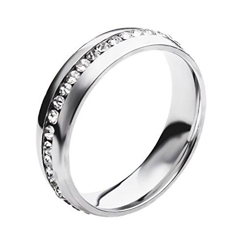 Anillo de Boda Compromiso Dedo Diamantes de Imitación Unsex Decoración Boda Color Plata US 11