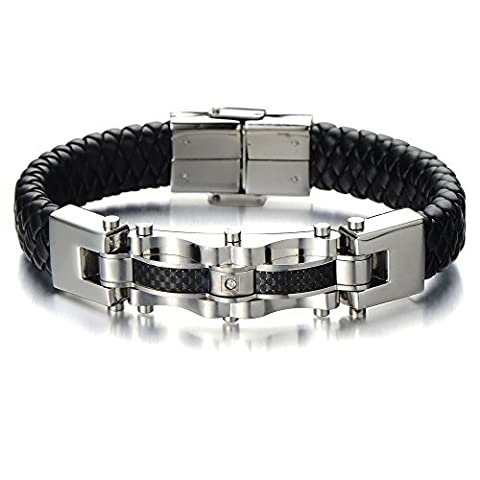 Masculine Mens Stainless Steel Leather Bracelet with Carbon Fiber and CZ