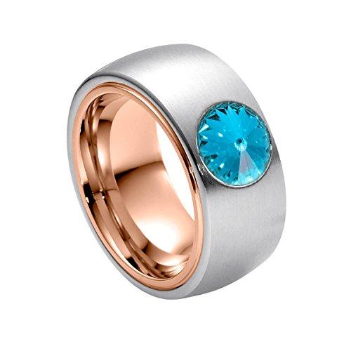 Heideman Damen-Ring coma bicolor roségold Gr.60 swarovski kristalle aqamarine 8 mm Ringe mit Stein Zirkonia Diamant Bicolor Ring Edelstahl Größe 60 (19.1) hr2319-8-202-60
