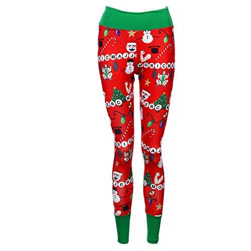 (SOMESUN Leggings Sports Damen Hose Weihnachtselastische Gamaschen Sport Hose Women Merry Christmas Elastic Leggings Sport Pants (Rot, L))