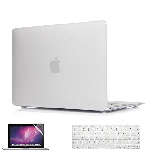 i-Buy Hülle + Silikon Tastaturschutz + displayschutz für Apple Macbook Pro Retina 12 zoll (Modell A1534) - Klar