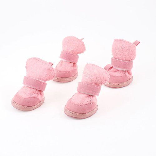 TOOGOO(R) Pink Nonslip Sole Velcro Booties Pet Dog for sale  Delivered anywhere in UK