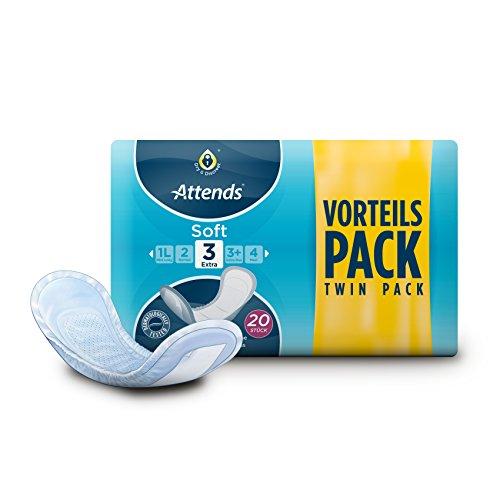 Attends Soft 3 Extra, Hygiene-Einlagen, bei leichter Blasenschwäche, 20 St