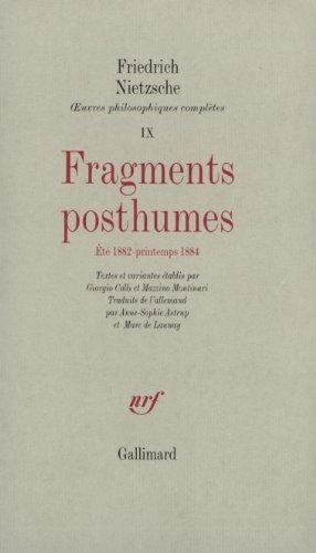 Fragments posthumes (été 1882 - printemps 1884)