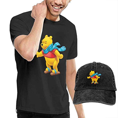 SOTTK Kurzarmshirt Herren, t-Shirts, Tee's, Winnie-The-Pooh Men's Classic T-Shirt with Washed Denim Baseball Hat - Winnie The Pooh Kostüm Männer