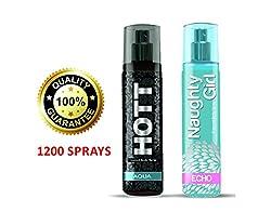Hott AQUA & Naughty Girl ECHO Perfume Combo For Couple (1200 Sprays Each)