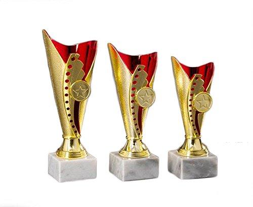 "goldfarben 3er-Serie Sport-Pokale /""Boule//Petanque/"" mit Wunschgravur"