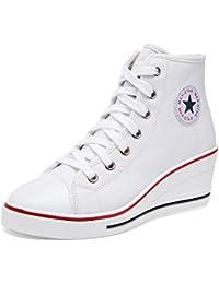 0b304ccbd67f37 Damenschuhe Canvas Schuhe Frühling Herbst-Komfort-Turnschuhe Keilabsatz für  Outdoor Weiß Schwarz Rot…