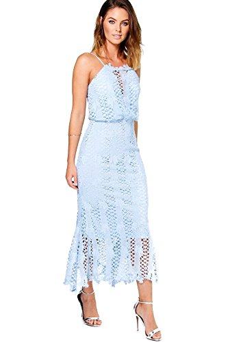 Bleu Femmes Boutique Hedvig Crochet Midi Dress Bleu
