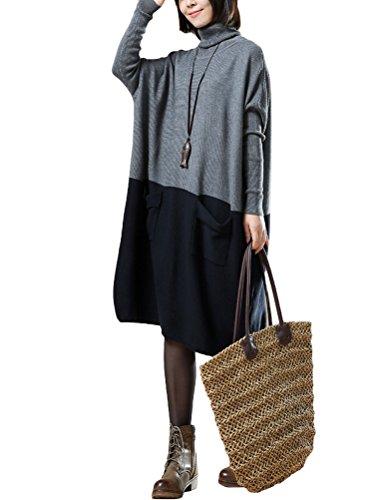 Vogstyle Femme Pull Bicolore Manches Longues Vintage Fluide Grandes Poches en Coton Style 4 Gris foncé