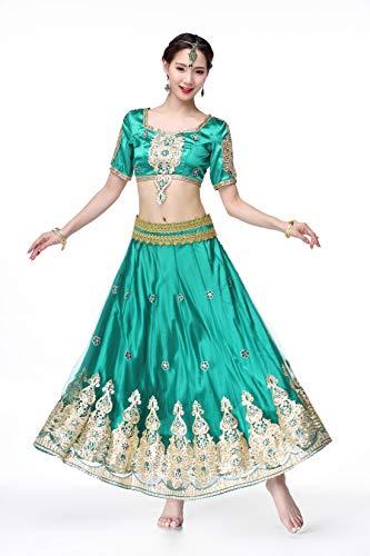 Green Tanz Kostüm - SMACO Indian Bollywood Lady Bauchtanz Kleidung Frau Set Kleider Bauchtanz Kleid Anzug Rot Indian Bollywood Tänzer Tanz Kostüme Frauen Erwachsene (3-Teiliges Set),Green,S