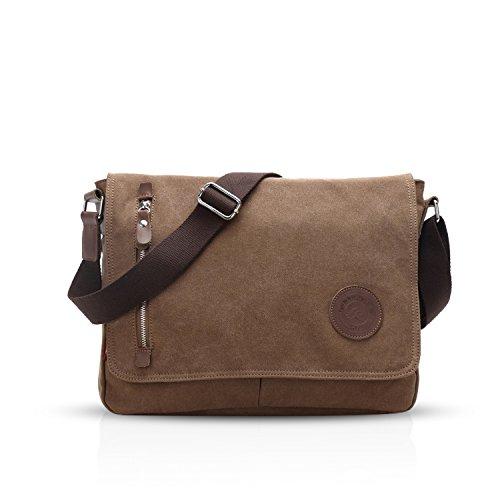 Fandare retro messenger bag borsa a tracolla borsa crossbody 14 pollice laptop briefcase uomo donne scuola borsa zainetto schoolbag multifunzione canvas marrone