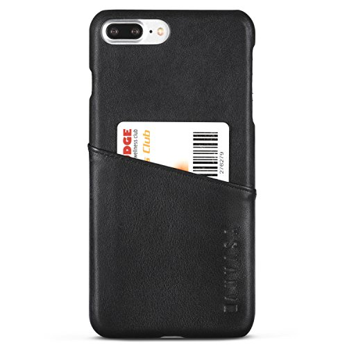 Kanvasa cover iphone 8 plus/cover iphone 7 plus pelle nera cards custodia posteriore portafoglio nero in autentica pelle per apple iphone 8 plus & 7 plus (5.5