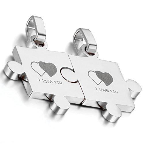Flongo 2 PCS I Love You Doppel Herz Edelstahl Anhänger Halskette Silber Puzzle Lieben Valentine Paar Paare Set Charm Charme Herren,Damen mit 45cm 55cm Kette