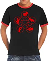 Touchlines Herren T-Shirt Big Bang Theory Stein Schere Papier Ringer Kontrast