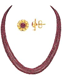 a003561bc Taruna Biyani Multi Layered Semi Precious Ruby Red Gemstone Beaded Necklace  Mala for Women with PURE