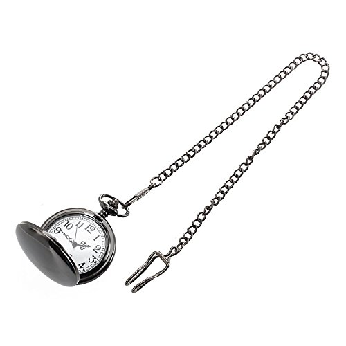 Taschenuhr - TOOGOO(R) Taschenuhr Quarz Maenner Frauen Silber Spiegelkugel schwarz Box Clip Kette