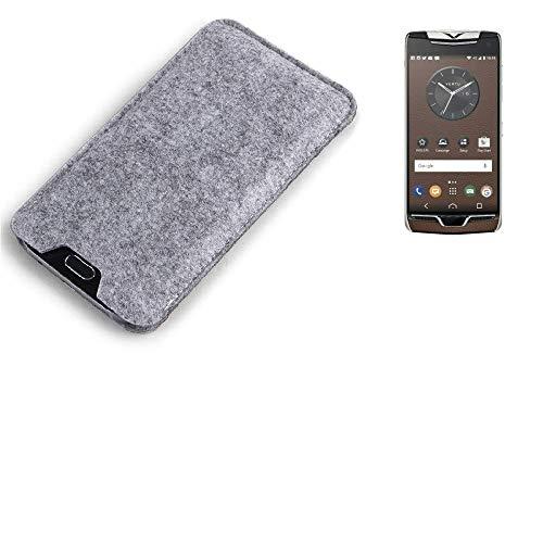 K-S-Trade Filz Schutz Hülle für Vertu Constellation (2017) Schutzhülle Filztasche Filz Tasche Case Sleeve Handyhülle Filzhülle grau