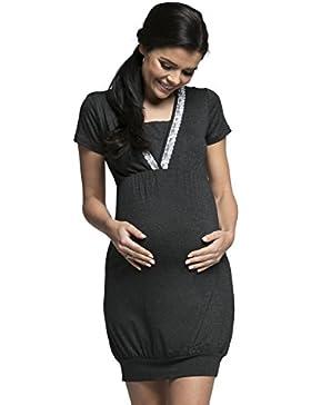 Happy Mama. Donna Prémaman camicia da notte la gravidanza e allattamento.052p (Grafite Melange, IT 44, L)