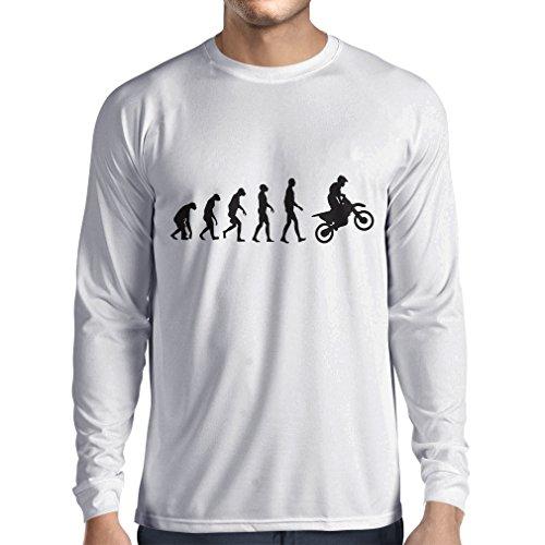 lepni.me Maglietta a Manica Lunga da Uomo Evoluzione Motocross, Moto Sporca, Maglia da Moto, Abbigliamento da Corsa, Moto da Fuoristrada (Large Bianco Nero)