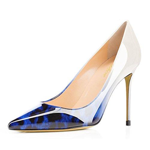 Lutalica Damen Mode Gradient Printing Spitzschuh Lackleder Stiletto Heels Pumps Blau Leopard Größe 42 EU (Pointy-zehe-schuhe)