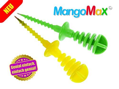 MangoMax mit Edelstahlspitze - Mangos schälen und schneiden mit MangoMax ist genial einfach, praktisch spielend leicht. Endlich bleiben ihre Hände sauber und ihre Küche auch. Garantiert!