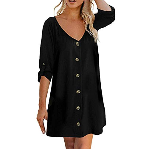 Femme Frühling und Sommer T-Shirt,Rifuli® Roll Tab 3/4 Ärmel V-Ausschnitt Button Down Lässige Flowy Mini Tunika Kleid Damen Shirts Tanktops Fitness Sport Freizeit