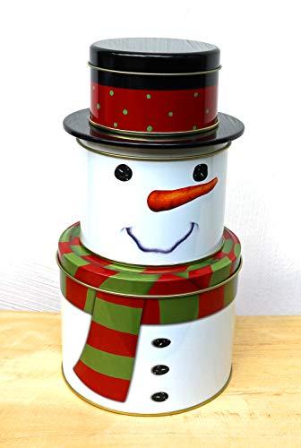 heimtexland ® Plätzchendose 3-stöckig Schneemann Höhe 27 cm Keksdose Geschenkbox Aufbewahrungsdosen Weihnachten Typ605