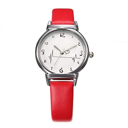 UINGKID Damen Armbanduhr Analog Quarz Einfache Gürteluhr Weibliche Modelle Kreative Studenten Heart-Feeling Quarz Uhr (Kostüme Weibliche Gute)