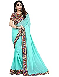 Diya Fashion Women's Georgette Saree With Blouse Piece (White Peacock With Hand Work) (SKYBLUE, Georgette)